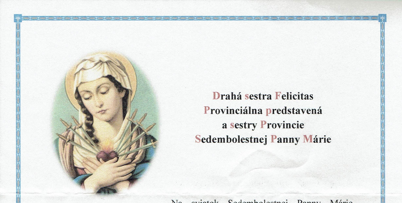 K sviatku Sedembolestnej Panny Márie