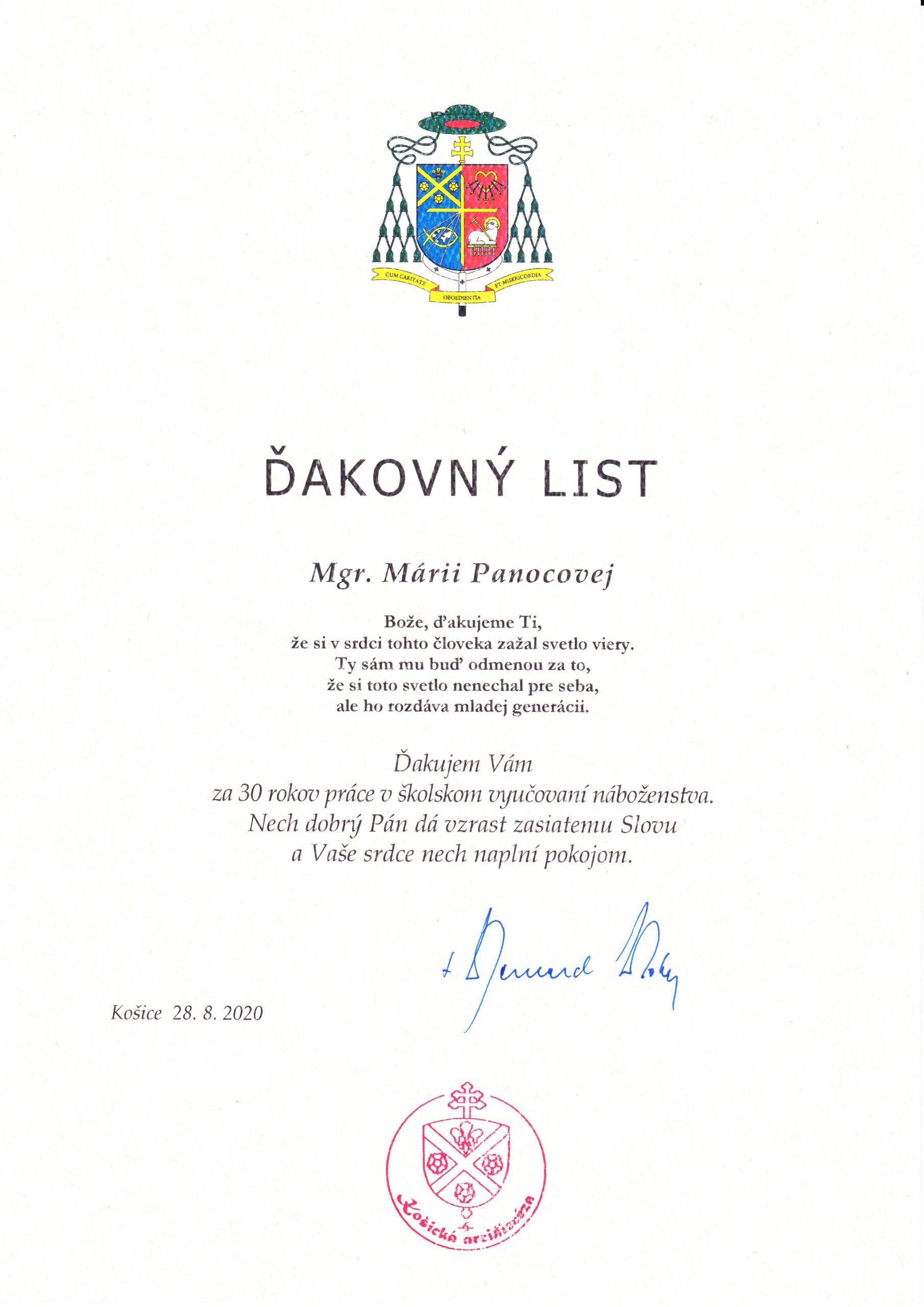 Ocenenie sr. M. Hieronymy Panocovej, FDC za 30 rokov v katechéze